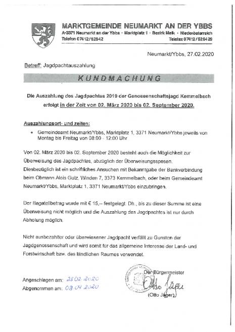 Kundmachung Kemmelbach