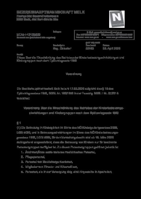 Verordnung BH-Melk 03.04.2020  Einschränkung des Betriebes der Kinderbetreuungseinrichtungen und Kindergruppen nach dem Epidemiegesetz 1950.pdf