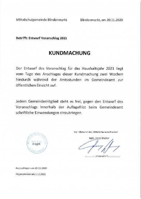 Kundmachung Entwurf Voranschlag 2021-20112020120742.pdf