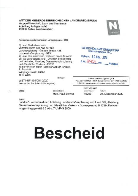 Bescheid - Donauquerung B 123b; Feststellungsantrag gem. § 3 Abs. 7 UVP-G 2000.pdf