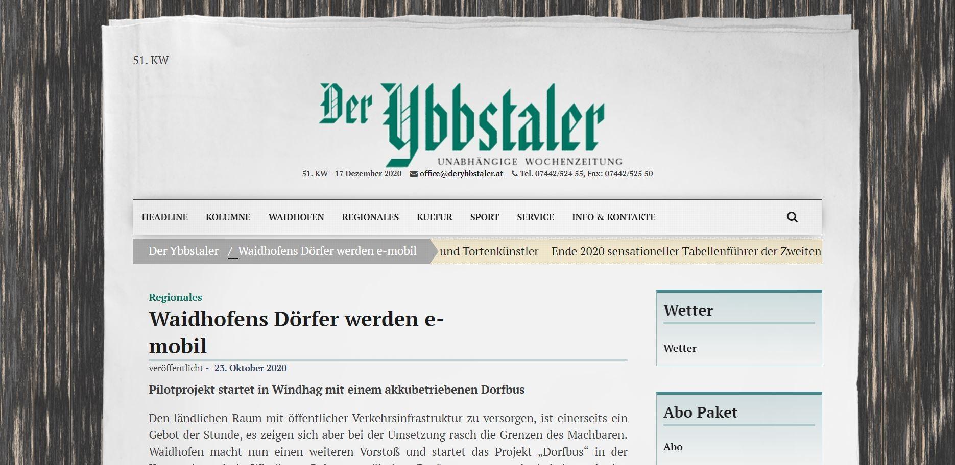 20201023_Ybbstaler_Waidhofens Dörfer werden e-mobil.JPG
