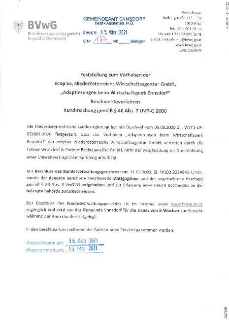 Kundmachung. BVwG, Vorhaben Adaptierung beim Wirtschaftspark Ennsdorf.pdf