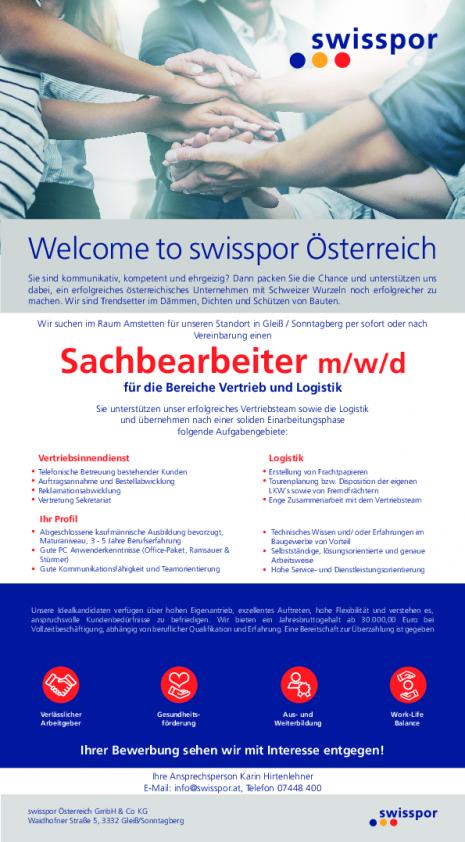 Stelleninserat Sachbearbeiter Swisspor.pdf