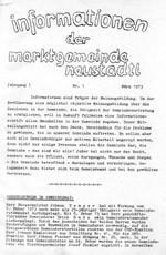 1. Gemeindezeitung vom März 1973
